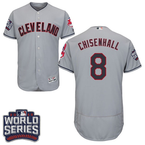 Men's Majestic Cleveland Indians #8 Lonnie Chisenhall Grey 2016 World Series Bound Flexbase Authentic Collection MLB Jersey
