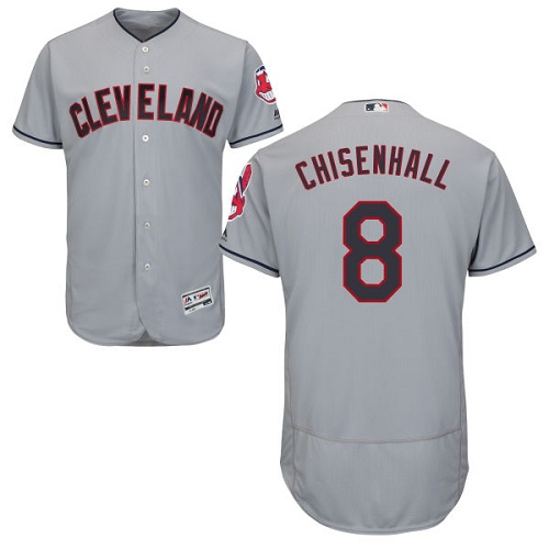 Men's Majestic Cleveland Indians #8 Lonnie Chisenhall Grey Road Flex Base Authentic Collection MLB Jersey