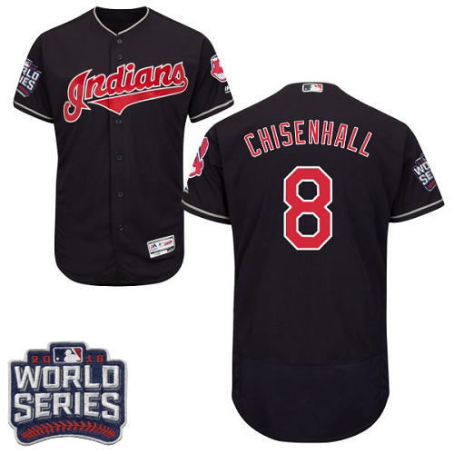 Men's Majestic Cleveland Indians #8 Lonnie Chisenhall Navy Blue 2016 World Series Bound Flexbase Authentic Collection MLB Jersey