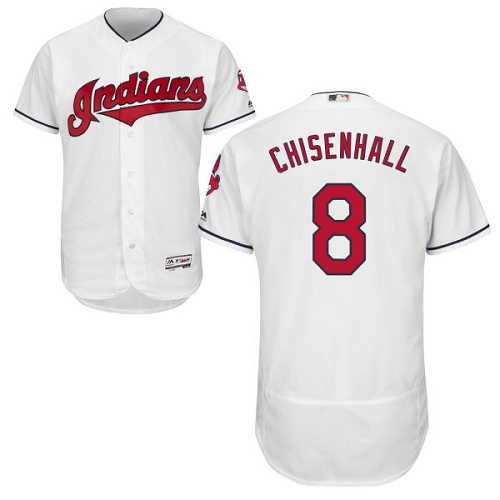 Men's Majestic Cleveland Indians #8 Lonnie Chisenhall White Home Flex Base Authentic Collection MLB Jersey