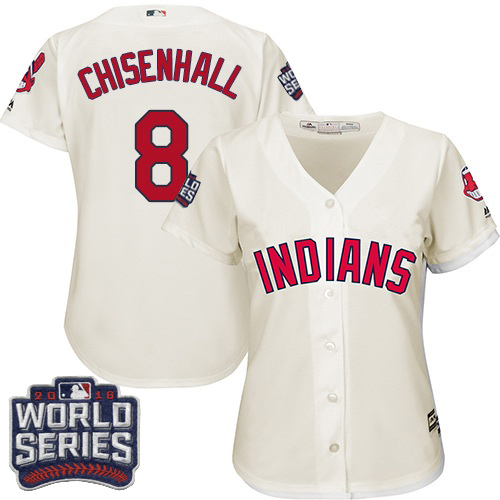 Women's Majestic Cleveland Indians #8 Lonnie Chisenhall Authentic Cream Alternate 2 2016 World Series Bound Cool Base MLB Jersey