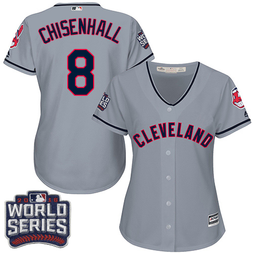 Women's Majestic Cleveland Indians #8 Lonnie Chisenhall Authentic Grey Road 2016 World Series Bound Cool Base MLB Jersey