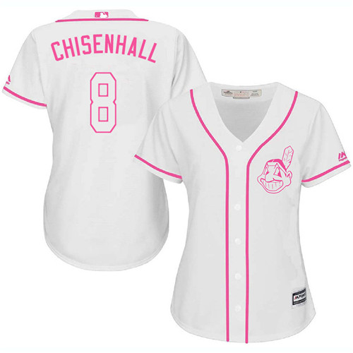Women's Majestic Cleveland Indians #8 Lonnie Chisenhall Authentic White Fashion Cool Base MLB Jersey