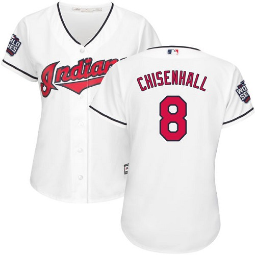 Women's Majestic Cleveland Indians #8 Lonnie Chisenhall Authentic White Home 2016 World Series Bound Cool Base MLB Jersey
