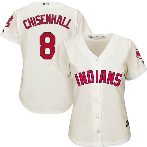 Women's Majestic Cleveland Indians #8 Lonnie Chisenhall Replica Cream Alternate 2 Cool Base MLB Jersey