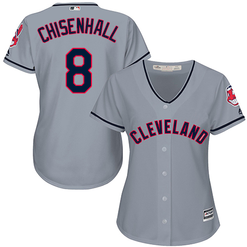 Women's Majestic Cleveland Indians #8 Lonnie Chisenhall Replica Grey Road Cool Base MLB Jersey