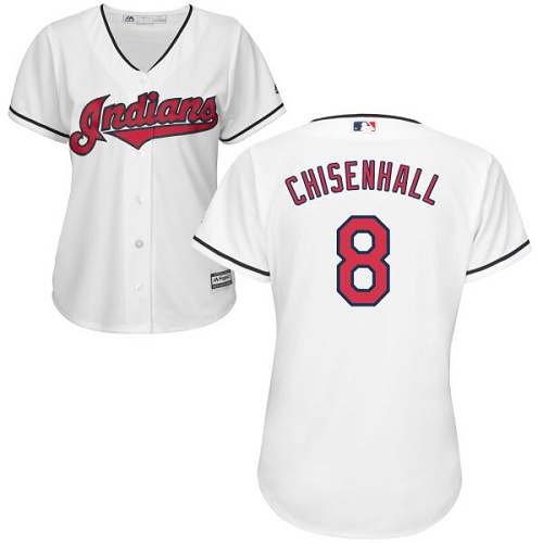 Women's Majestic Cleveland Indians #8 Lonnie Chisenhall Replica White Home Cool Base MLB Jersey