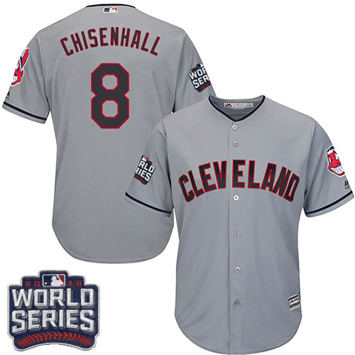 Youth Majestic Cleveland Indians #8 Lonnie Chisenhall Authentic Grey Road 2016 World Series Bound Cool Base MLB Jersey