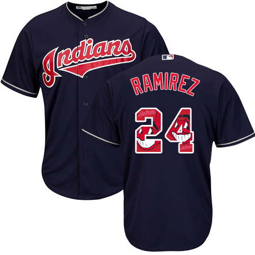 Men's Majestic Cleveland Indians #24 Manny Ramirez Authentic Navy Blue Team Logo Fashion Cool Base MLB Jersey