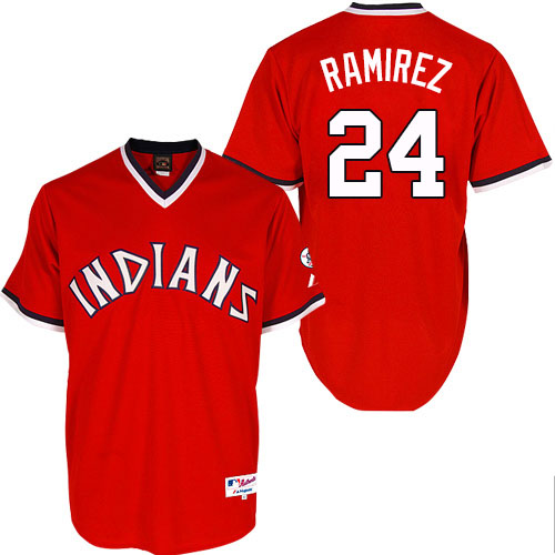 Men's Majestic Cleveland Indians #24 Manny Ramirez Authentic Red 1974 Turn Back The Clock MLB Jersey