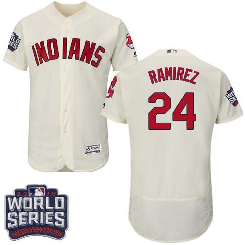 Men's Majestic Cleveland Indians #24 Manny Ramirez Cream 2016 World Series Bound Flexbase Authentic Collection MLB Jersey
