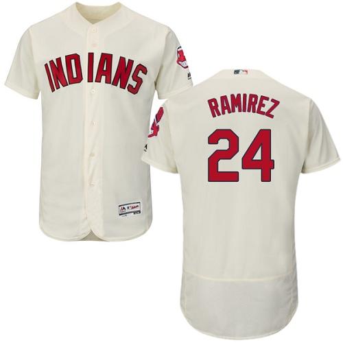 Men's Majestic Cleveland Indians #24 Manny Ramirez Cream Alternate Flex Base Authentic Collection MLB Jersey