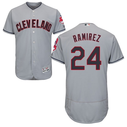 Men's Majestic Cleveland Indians #24 Manny Ramirez Grey Road Flex Base Authentic Collection MLB Jersey