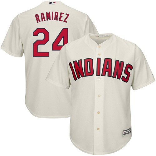 Men's Majestic Cleveland Indians #24 Manny Ramirez Replica Cream Alternate 2 Cool Base MLB Jersey