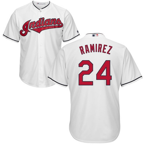 Men's Majestic Cleveland Indians #24 Manny Ramirez Replica White Home Cool Base MLB Jersey