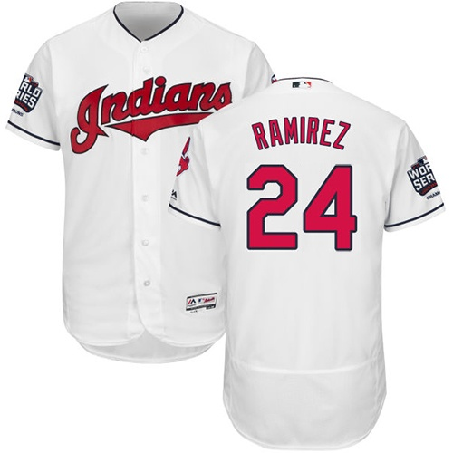 Men's Majestic Cleveland Indians #24 Manny Ramirez White 2016 World Series Bound Flexbase Authentic Collection MLB Jersey