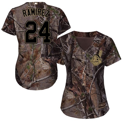 Women's Majestic Cleveland Indians #24 Manny Ramirez Authentic Camo Realtree Collection Flex Base MLB Jersey