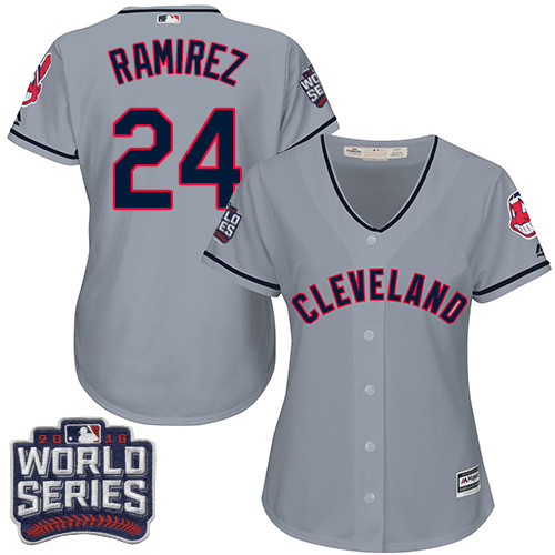 Women's Majestic Cleveland Indians #24 Manny Ramirez Authentic Grey Road 2016 World Series Bound Cool Base MLB Jersey