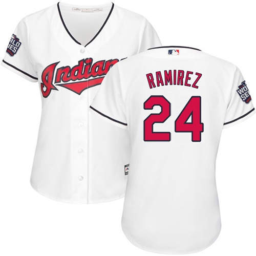 Women's Majestic Cleveland Indians #24 Manny Ramirez Authentic White Home 2016 World Series Bound Cool Base MLB Jersey