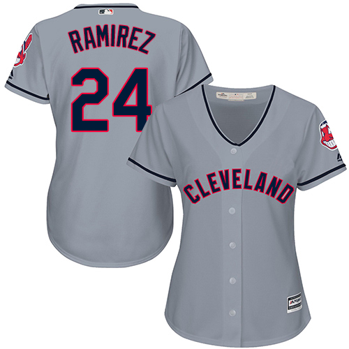Women's Majestic Cleveland Indians #24 Manny Ramirez Replica Grey Road Cool Base MLB Jersey