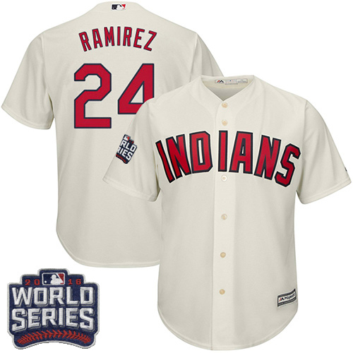 Youth Majestic Cleveland Indians #24 Manny Ramirez Authentic Cream Alternate 2 2016 World Series Bound Cool Base MLB Jersey