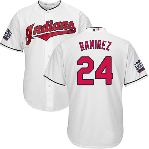 Youth Majestic Cleveland Indians #24 Manny Ramirez Authentic White Home 2016 World Series Bound Cool Base MLB Jersey