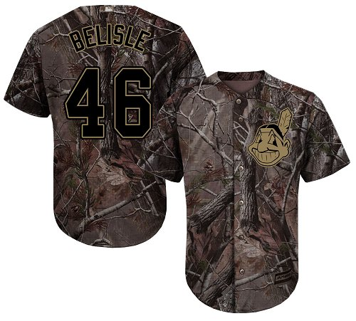 Men's Majestic Cleveland Indians #46 Matt Belisle Authentic Camo Realtree Collection Flex Base MLB Jersey