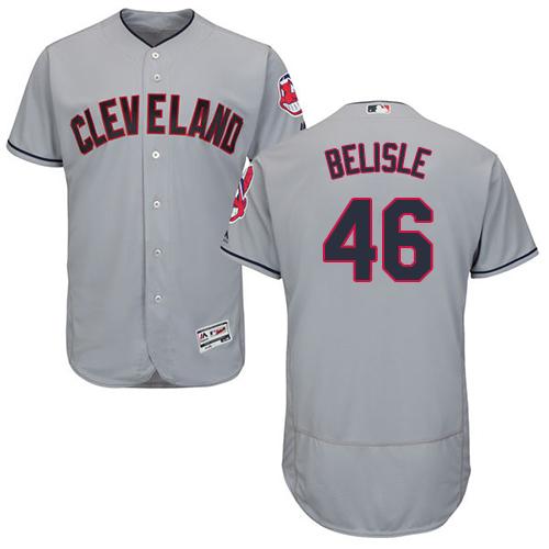Men's Majestic Cleveland Indians #46 Matt Belisle Grey Road Flex Base Authentic Collection MLB Jersey