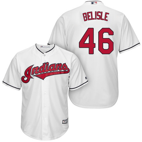Men's Majestic Cleveland Indians #46 Matt Belisle Replica White Home Cool Base MLB Jersey