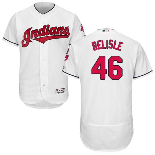 Men's Majestic Cleveland Indians #46 Matt Belisle White Home Flex Base Authentic Collection MLB Jersey