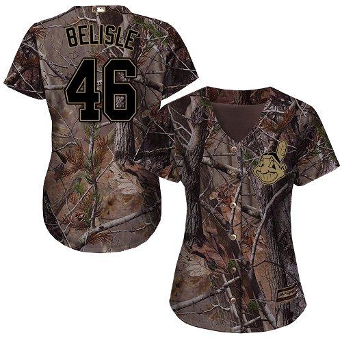 Women's Majestic Cleveland Indians #46 Matt Belisle Authentic Camo Realtree Collection Flex Base MLB Jersey