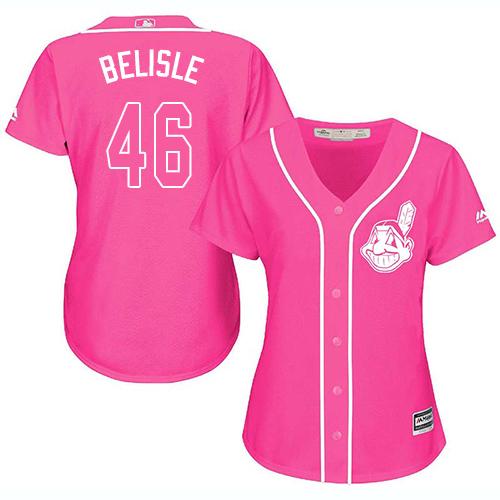 Women's Majestic Cleveland Indians #46 Matt Belisle Authentic Pink Fashion Cool Base MLB Jersey