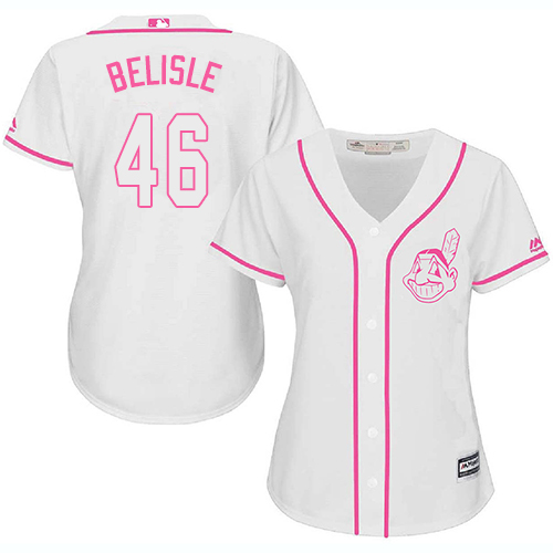 Women's Majestic Cleveland Indians #46 Matt Belisle Authentic White Fashion Cool Base MLB Jersey