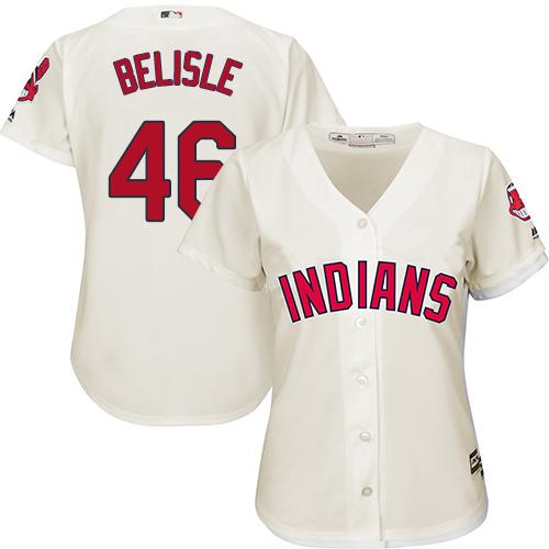 Women's Majestic Cleveland Indians #46 Matt Belisle Replica Cream Alternate 2 Cool Base MLB Jersey