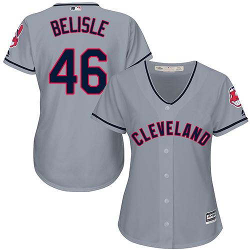 Women's Majestic Cleveland Indians #46 Matt Belisle Replica Grey Road Cool Base MLB Jersey