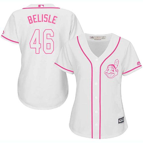 Women's Majestic Cleveland Indians #46 Matt Belisle Replica White Fashion Cool Base MLB Jersey