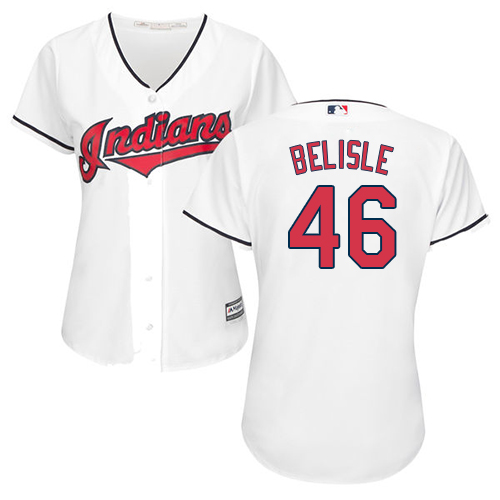 Women's Majestic Cleveland Indians #46 Matt Belisle Replica White Home Cool Base MLB Jersey