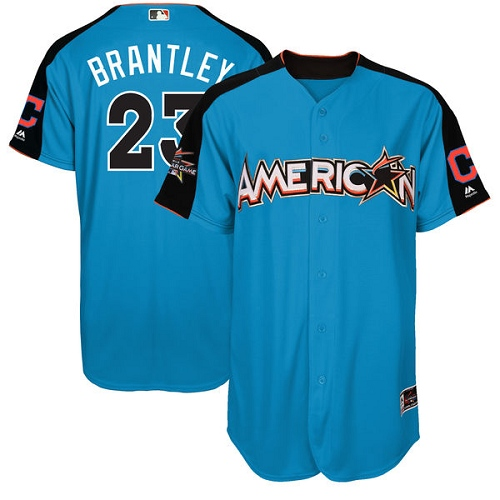 Men's Majestic Cleveland Indians #23 Michael Brantley Authentic Blue American League 2017 MLB All-Star MLB Jersey
