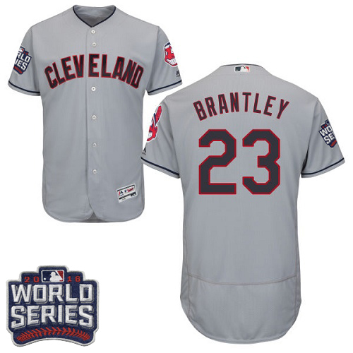 Men's Majestic Cleveland Indians #23 Michael Brantley Grey 2016 World Series Bound Flexbase Authentic Collection MLB Jersey