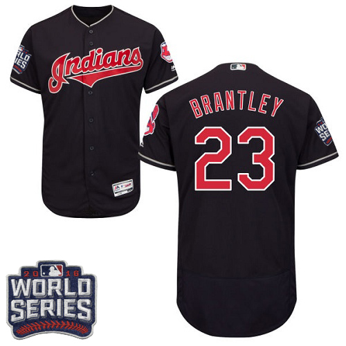 Men's Majestic Cleveland Indians #23 Michael Brantley Navy Blue 2016 World Series Bound Flexbase Authentic Collection MLB Jersey