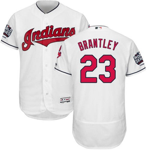 Men's Majestic Cleveland Indians #23 Michael Brantley White 2016 World Series Bound Flexbase Authentic Collection MLB Jersey