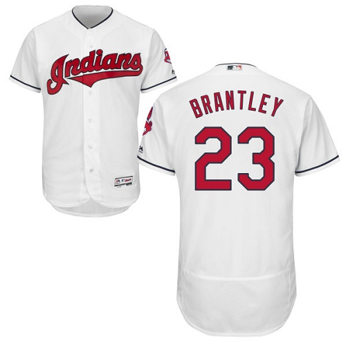 Men's Majestic Cleveland Indians #23 Michael Brantley White Home Flex Base Authentic Collection MLB Jersey