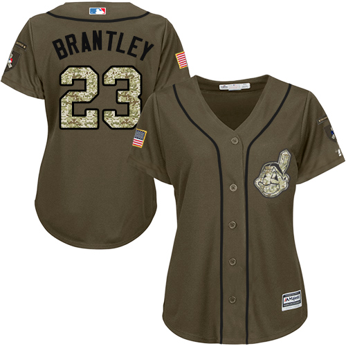 Women's Majestic Cleveland Indians #23 Michael Brantley Authentic Green Salute to Service MLB Jersey
