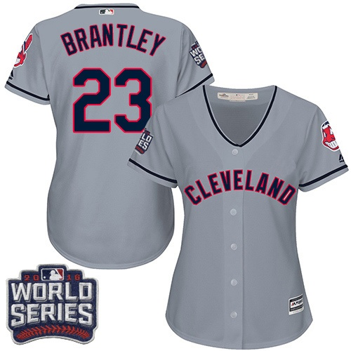 Women's Majestic Cleveland Indians #23 Michael Brantley Authentic Grey Road 2016 World Series Bound Cool Base MLB Jersey