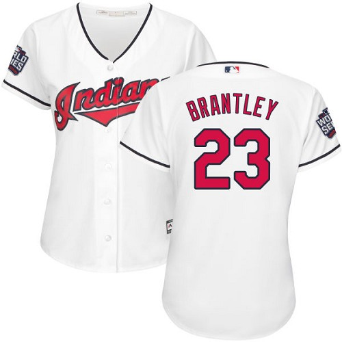 Women's Majestic Cleveland Indians #23 Michael Brantley Authentic White Home 2016 World Series Bound Cool Base MLB Jersey