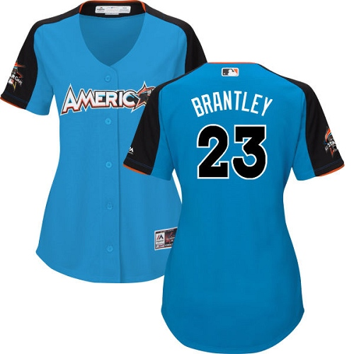 Women's Majestic Cleveland Indians #23 Michael Brantley Replica Blue American League 2017 MLB All-Star MLB Jersey