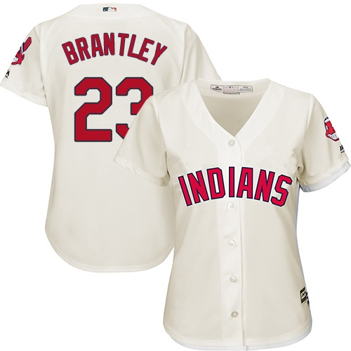 Women's Majestic Cleveland Indians #23 Michael Brantley Replica Cream Alternate 2 Cool Base MLB Jersey