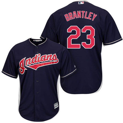 Youth Majestic Cleveland Indians #23 Michael Brantley Authentic Navy Blue Alternate 1 Cool Base MLB Jersey