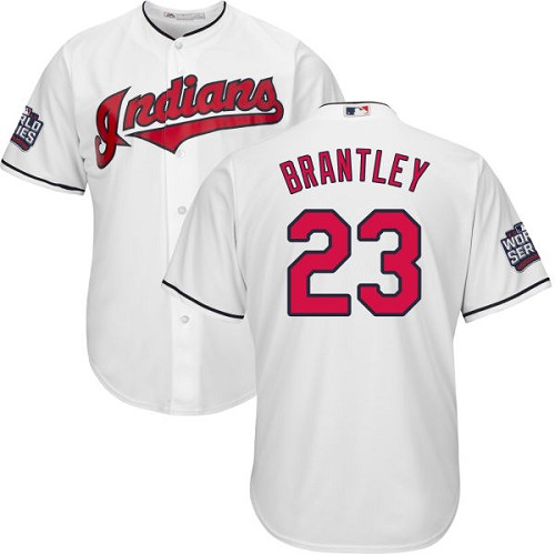 Youth Majestic Cleveland Indians #23 Michael Brantley Authentic White Home 2016 World Series Bound Cool Base MLB Jersey