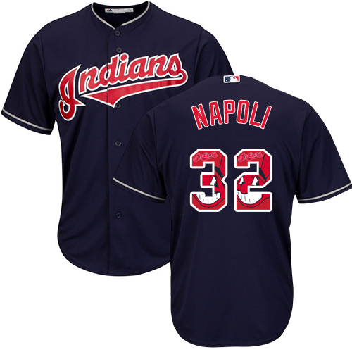 Men's Majestic Cleveland Indians #32 Mike Napoli Authentic Navy Blue Team Logo Fashion Cool Base MLB Jersey